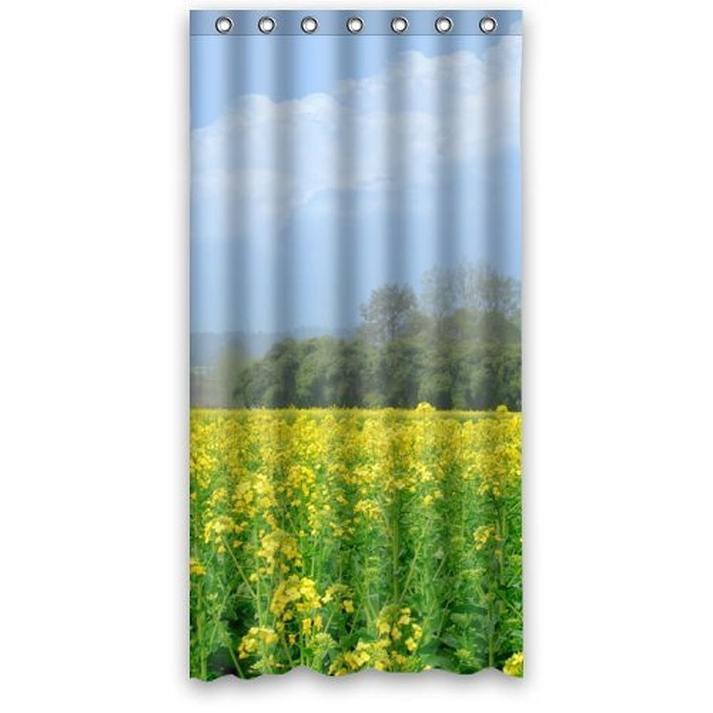 36wX72h Inches Good Quality Photo Of Rape Flower Field Polyester Waterproof Fabric Shower Curtain SRings Included