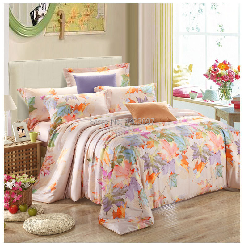 Luxury bedding set 4pcs tencel bed set linen comforter bedding sets queen kin - Dimension lit queen size ...