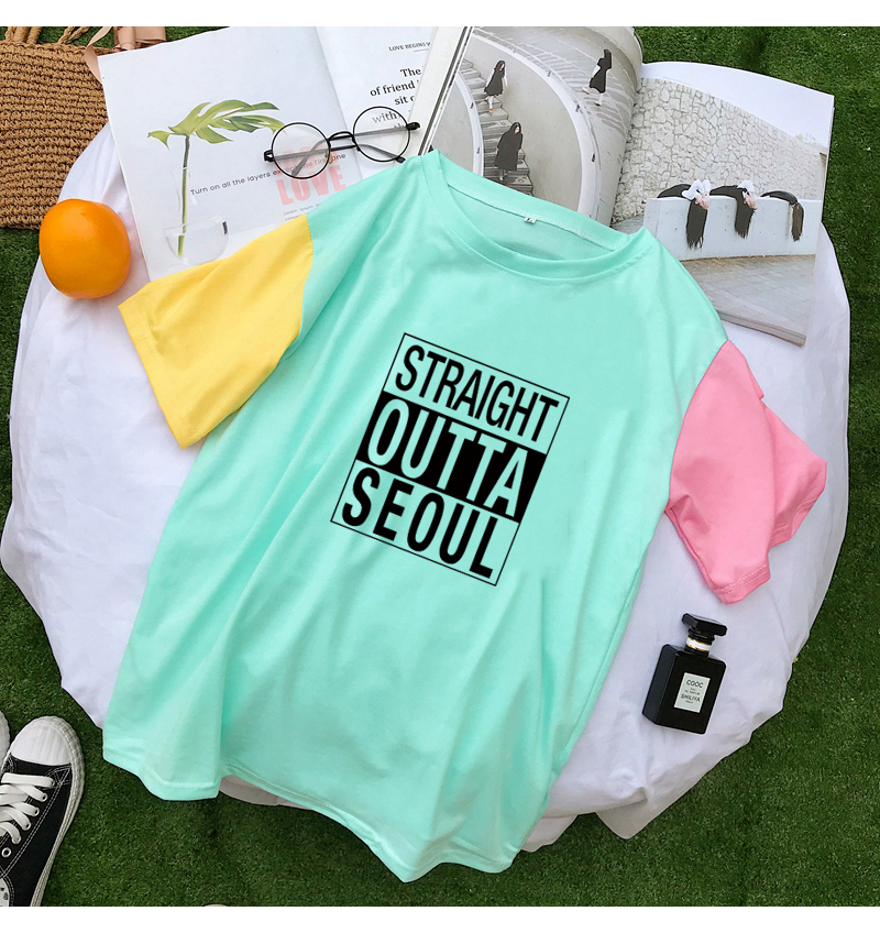 STRAIGHT OUTTA SEOUL T Shirts Women Summer Letter Print Hit Color Splicing Tshirts Harajuku Cotton Tops Streetwear Camisas Mujer (3)