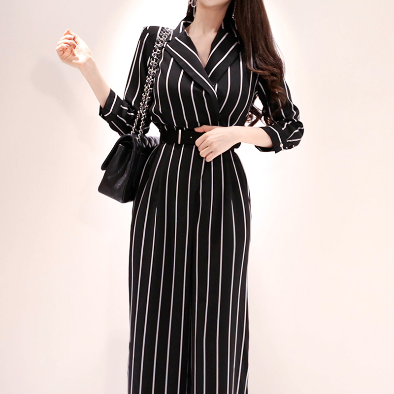 Fashion Work Style Women Temperament Comfortable High Quality Jumpsuit New Arrival Elegant OL Casual Classical Striped Jumpsuit