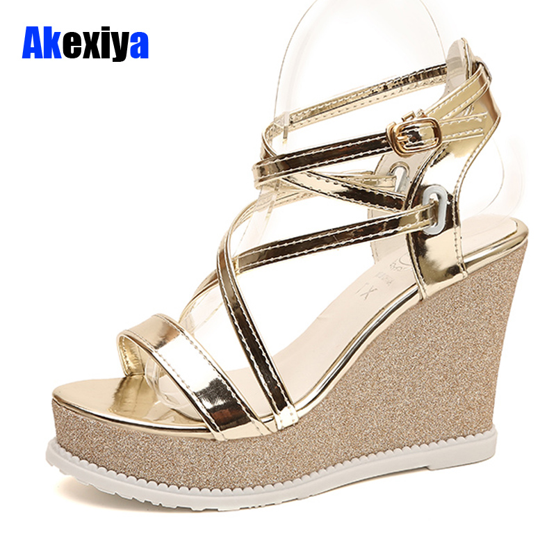 Akexiya Summer Fashion Patent Leather Gladiator Sandals Women Buckle Strap Super High Heels wedges Platform Shoes Woman m439 32 43 big size summer woman platform sandals fashion women soft leather casual silver gold gladiator wedges women shoes h19