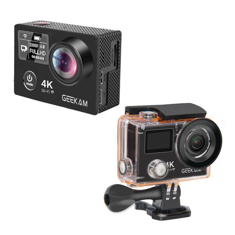 K8R 30m Mini Camera UHD 4K 30 FPS Angle Lens Action Waterproof 2inch LCD Screen Dual Screen WiFi