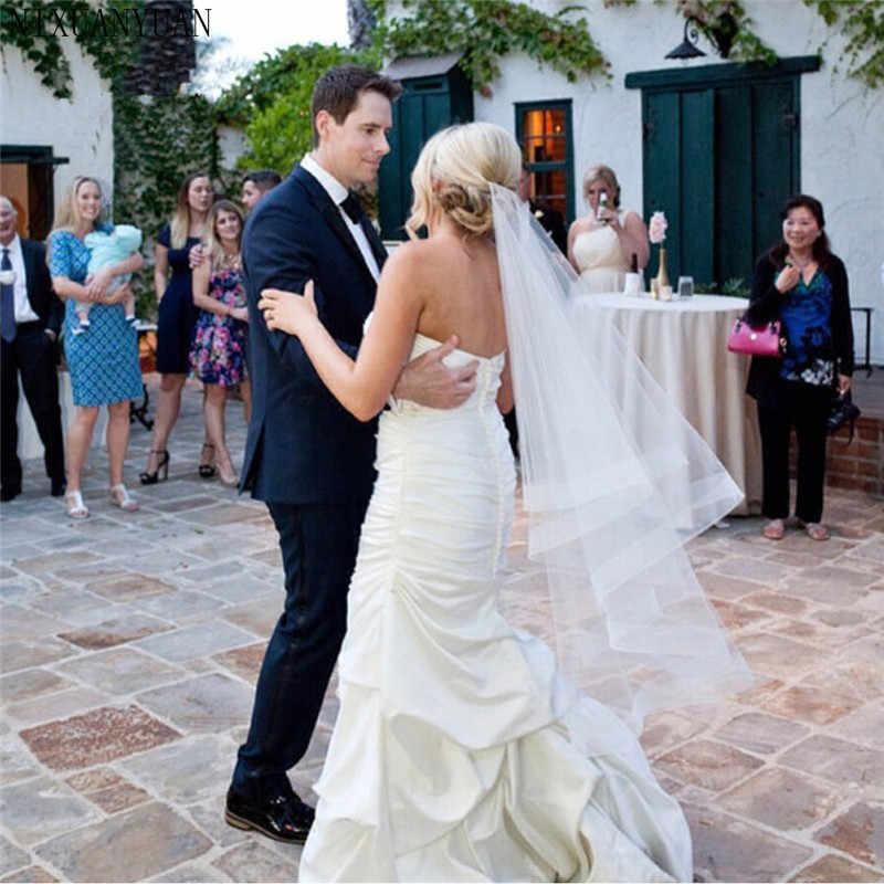 "Wedding Accessories Ribbon Edge Fingertip Veil with 2"" Horsehair Trim Fingertip Wedding Veil Bridal Veil Crinoline 2 Tier Veils"