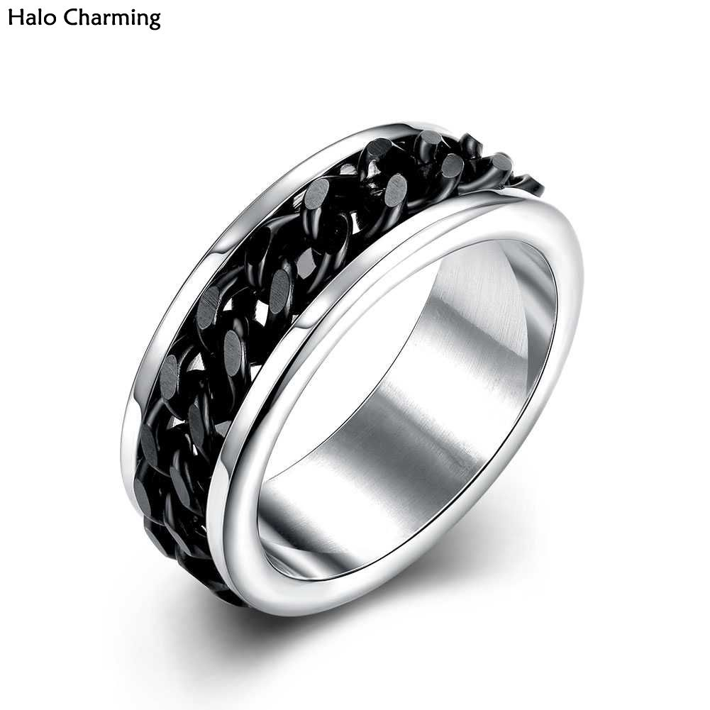 High Quality Ring Stainless Steel Fashion Jewelry Men Decoration Black Chain Silver Plated