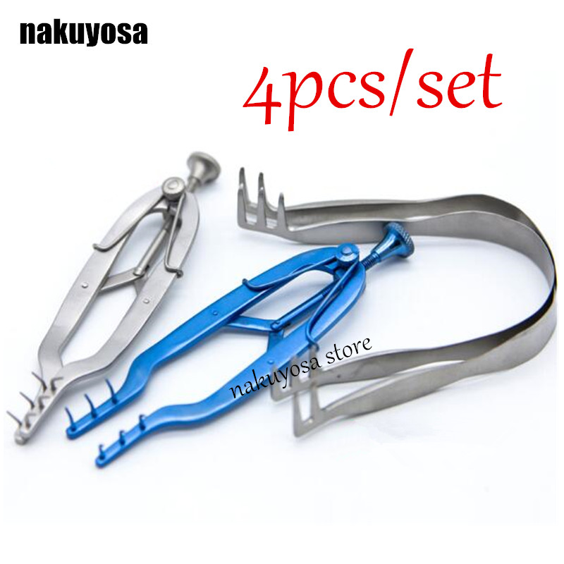 4pcs/set Medical Ophthalmic Instruments stainless steel microsurgical retractor  sac eyelid retractors stretcher device