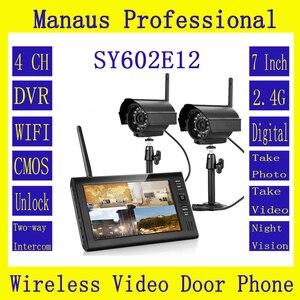 Monitor digital tft, alta qualidade 7 polegadas 2.4g sem fio vídeo porta telefone 4ch dvr kit de segurança com dois ir luz noturna ip66 câmeras