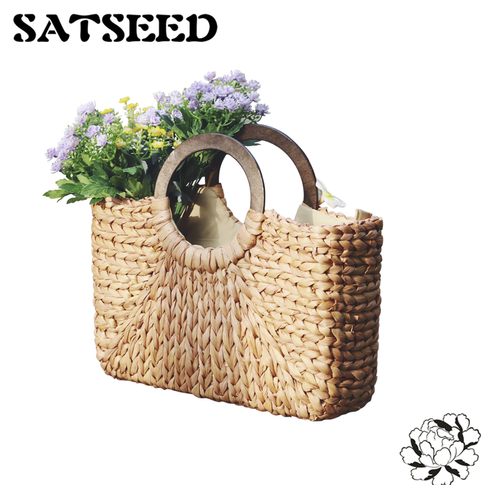 Straw Woven Bags Beach Vintage Handbags Wooden Ring Handle Simple Casual Travel Blue Red handmade flower appliques straw woven bulk bags trendy summer styles beach travel tote bags women beatiful handbags