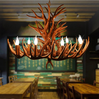 Coffee Candle Antler Chandelier American Retro Claret Resin Deer Horn Lamps Home Decoration Lighting E14 110