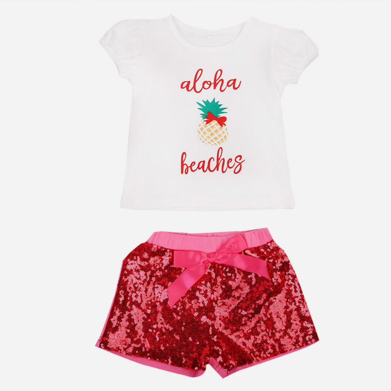 2017 Newt Hot Fashion Baby Girls Romper Letter Short Sleeve Tops Sequin Bling Red Shorts Bottoms Outfits 2Pcs Set Clothes 0-24M