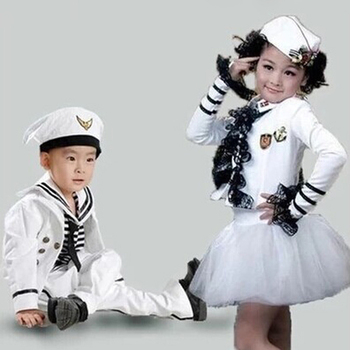 Kids Girl or Boy or Baby Navy Sailor Marine Stripe Costume Party Hat +Tops + Pant