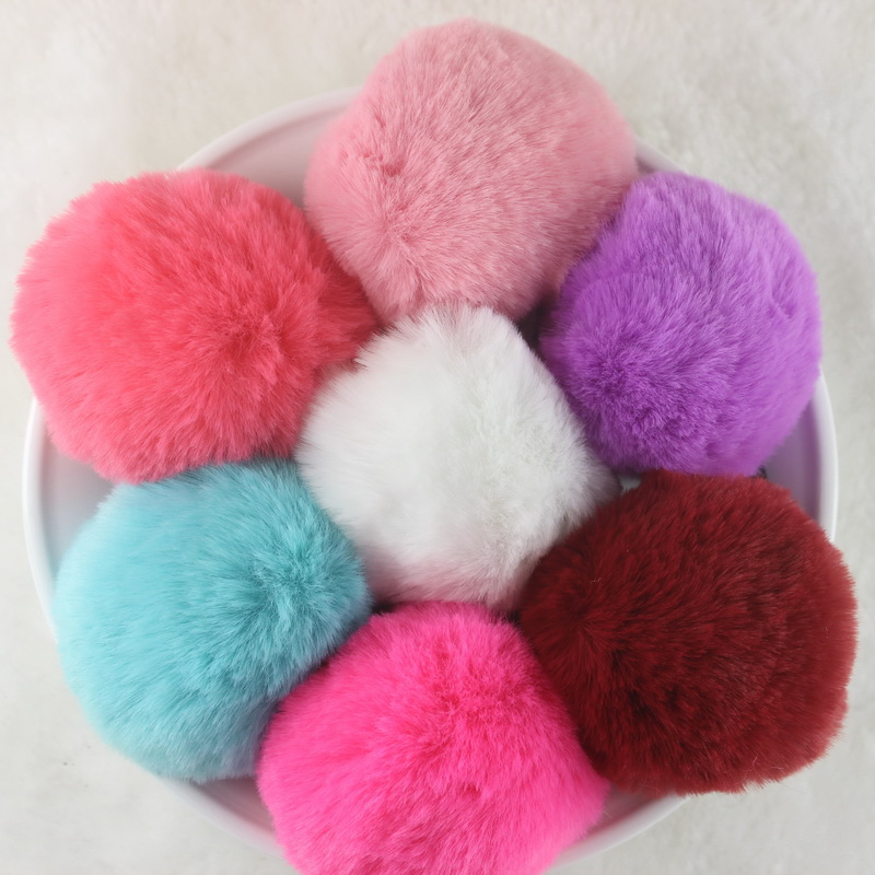 6pcs/lot New 2018 girl hair accessories Artificial rabbit ball hair bands of fur hair gum Big girl rubber bands High quality new hair claw for women girl elegant high quality hair clip party decorations holiday gift accessories