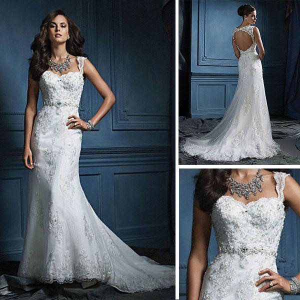 Latest Design Beaded Cap Sleeve Lace Wedding Dress Keyhole Back