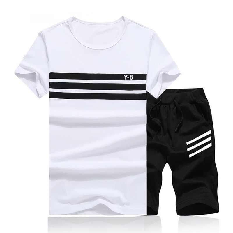 2018 новый летний мужской комплект 2 шт. спортивный костюм с коротким рукавом футболка + шорты комплект из двух предметов спортивный костюм + брюки Быстросохнущий Спортивный костюм для мужчин