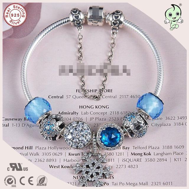 Muito Bonita Azul Floco De Neve Série Murano Charme Europeu 925 Pulseira de Prata Com Azul E Floco De Neve De Prata Charme