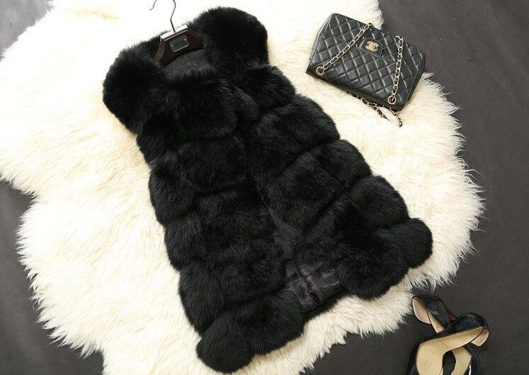 Высококачественная меховая жилетка, роскошное пальто из искусственного лисьего меха, теплое Женское пальто, жилетки, Зимняя мода, меховые женские пальто, куртка, жилетка, жилет, 4XL - Цвет: black