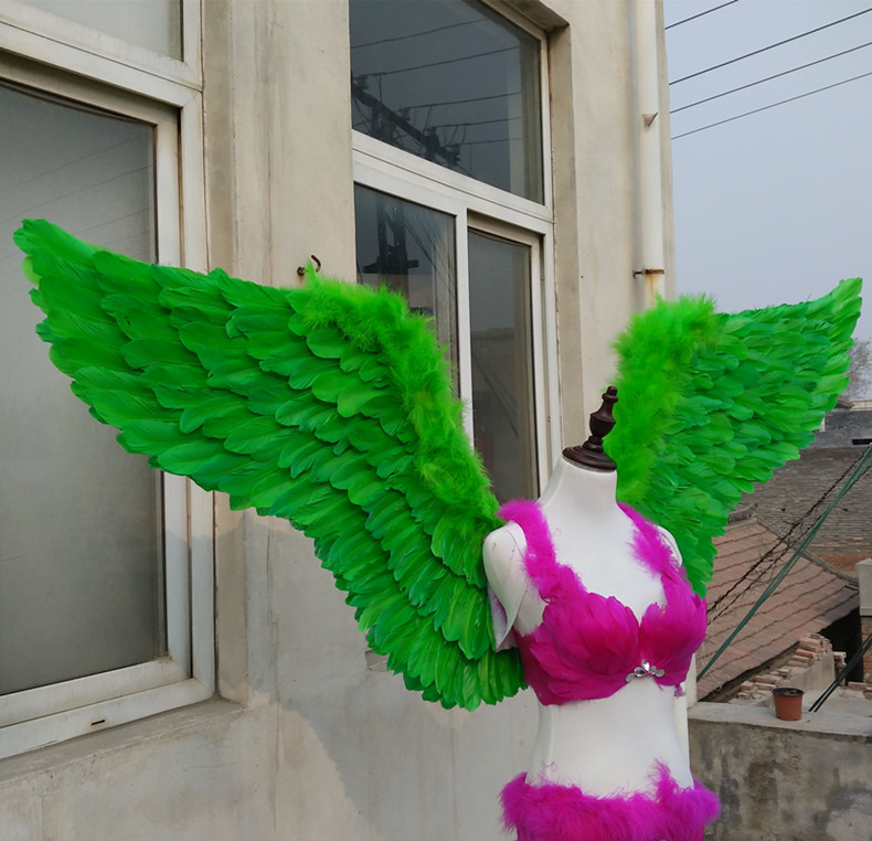 New Adults Beautiful Green Feather Wings Cosplay Party Stage Show Star Wings Displays -4730