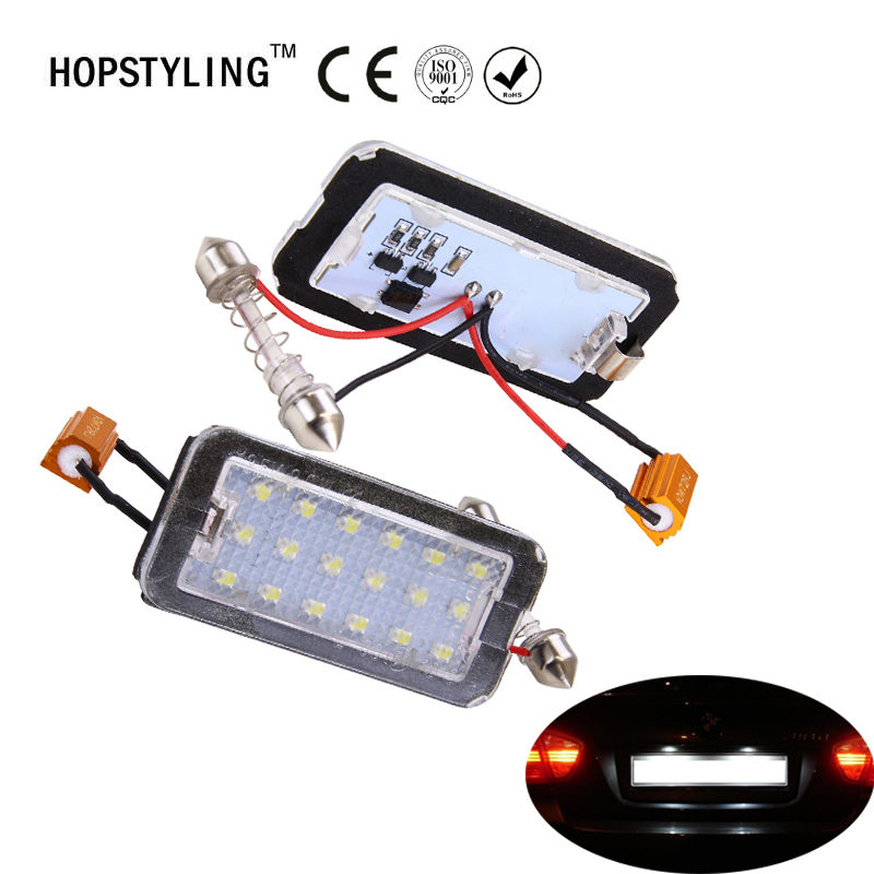 Muy brillante 2x Xenón blanco 18SMD Led para Fiat 500 500C 2007-2016 Número de LED Luz de matrícula Car-Styling Bombillas LED automotrices