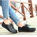 Sapatas Da Mulher 2016 Couro Genuíno Das Mulheres Sapatos Flats 8 Cores Mocassins Deslizamento Em Sapatas Lisas das Mulheres Mocassins Plus Size 35-41