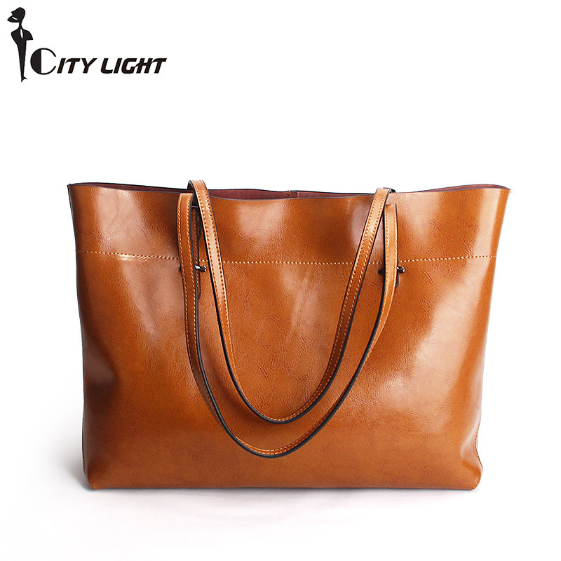 Fashion Women Genuine Leather Handbags Large Capacity Tote Bag Oil Wax Leather Shoulder Bag Crossbody Bags For Women yasicaidi fashion women leather handbags large capacity tote bag black oil leather shoulder bag crossbody bags for women handbag