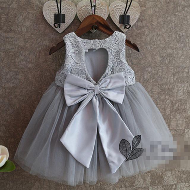 Nuevo verano del bebé Party Girl Dress 2016 malla de encaje sin mangas del Vestido de los bebés de la alta calidad del Vestido de boda Vestido 2-7Y