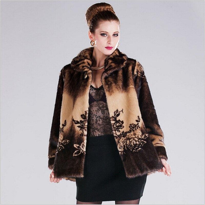 Fox Fur Collar Women Warm Winter Faux Fur Coat With Fur Trim Hood Leather Female Coat