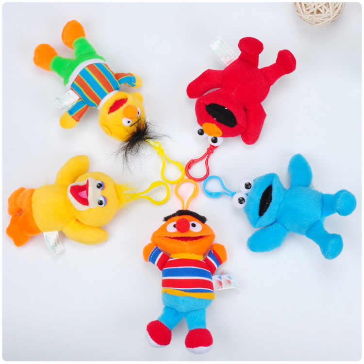 Mata Besar Biru Merah Elmo Plush Liontin Mainan Boneka Clamshell Boneka Plush Gantungan Kunci 13 Cm 5 Jenis Kait Plastik Wj04