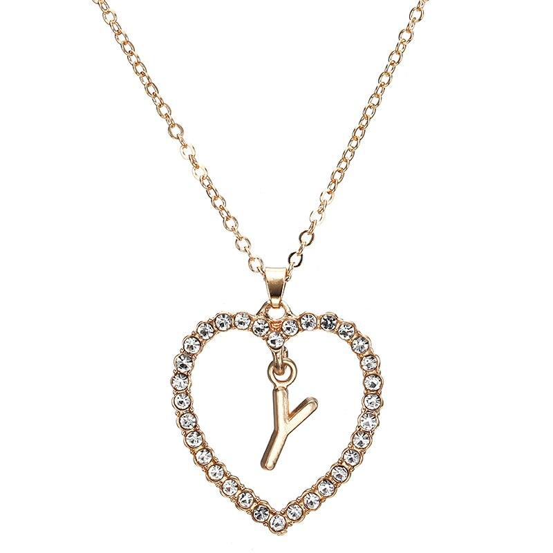 2018 Simple couleur or amour coeur colliers et pendentifs double strass collier ras du cou femmes déclaration Bijoux Bijoux x1 5