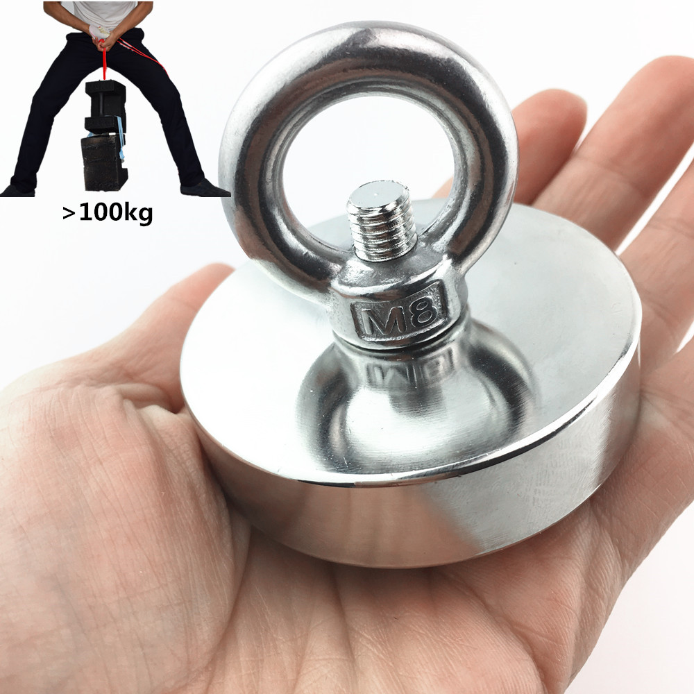 1 pz D60mm pesca salvataggio magnete al neodimio super potente foro Circolare anello gancio permanente di mare profondo di Trazione di Montaggio