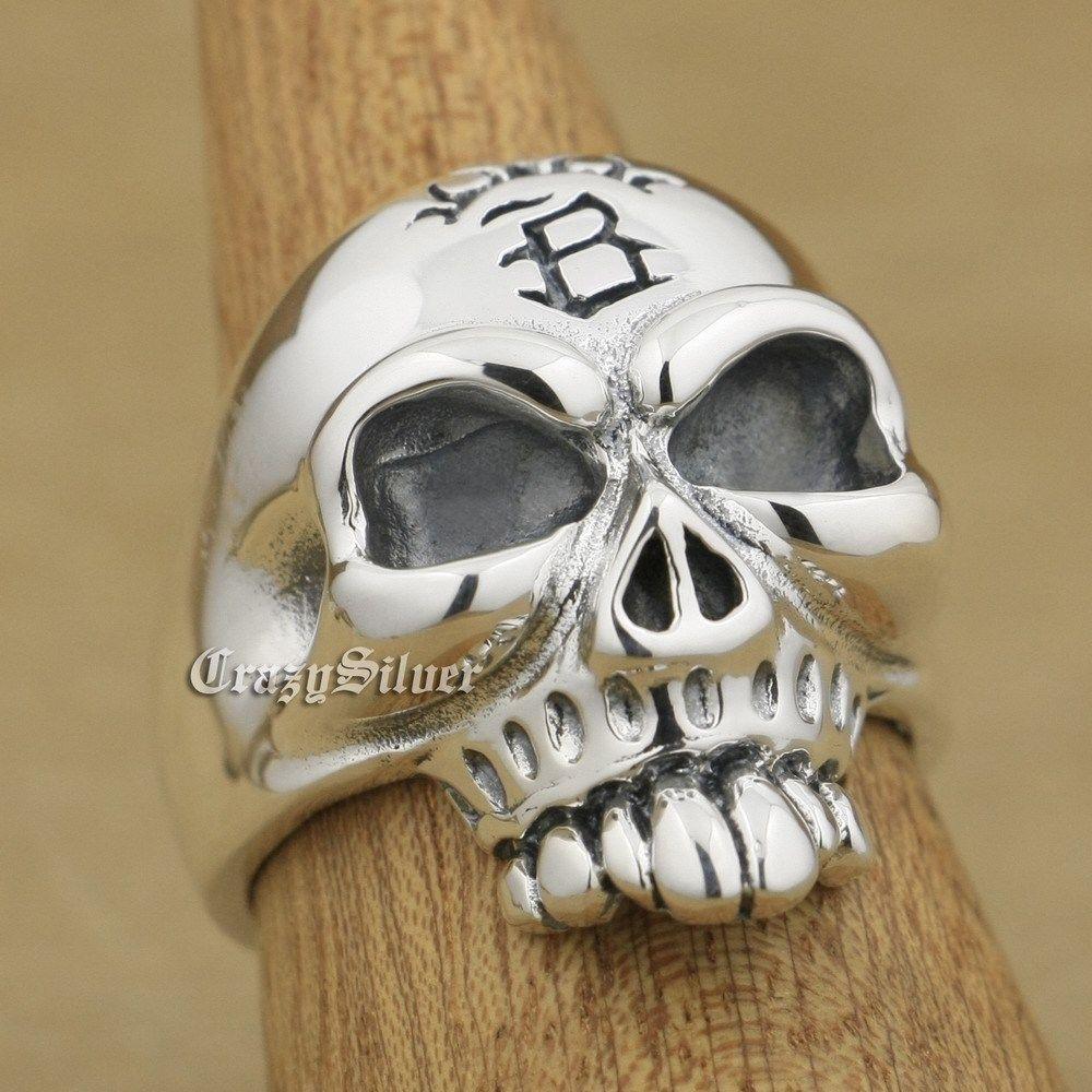 925 Sterling Silver Huge Skull Mens Biker Rocker Punk Ring 9W022 US Size 8 ~ 14 r003 skull shaped titanium steel ring black silver us size 8