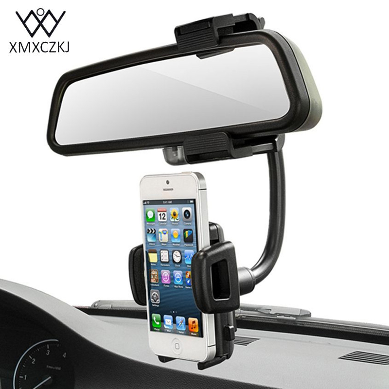 XMXCZKJ Car Rearview Mirror Mount Phone Holder Universal
