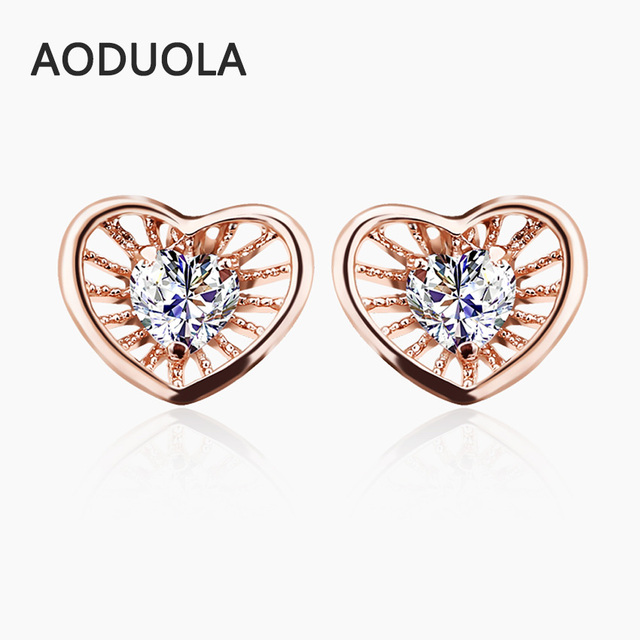 Gold Color Stud Earring Heart Shape With Cubic Zirconia Earrings For Women Bridal Wedding Ear