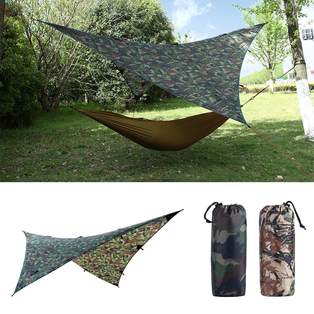 Waterproof Camping Awning Tarp Trail Tent Sun Shade Hammock Shelter Camo for Outdoor Camping Travel Picnic