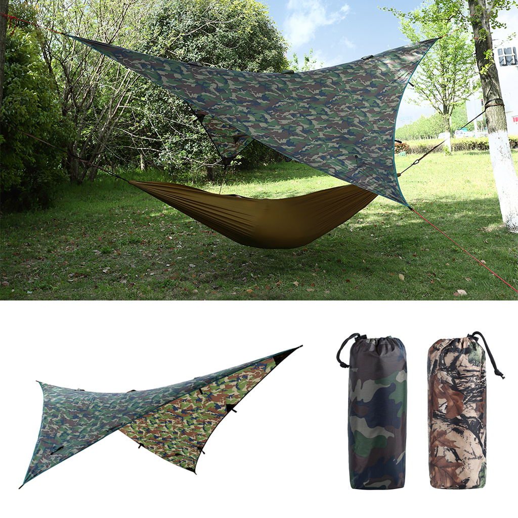 Waterproof Camping Awning Tarp Trail Tent Sun Shade Hammock Shelter Camo for Outdoor Camping Travel Picnic Beach Mat Accessory 8 5 2 4m super large uv waterproof family sun shelter relief outdoor camping tent gazebo beach sun shade travel fishing awning