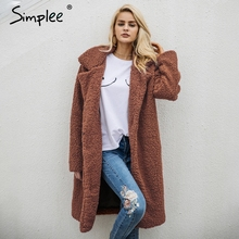 Simplee Wool blend warm winter coat women Fashion streetwear large sizes  long coat female 2017 casual autumn coat outerwear