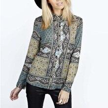 Nice Fashion Nice Spring Autumn Women Cotton Blouse Vintage Retro Pop Printed Shirt Long Sleeve Lapel Button Vogue Shirt GB8082