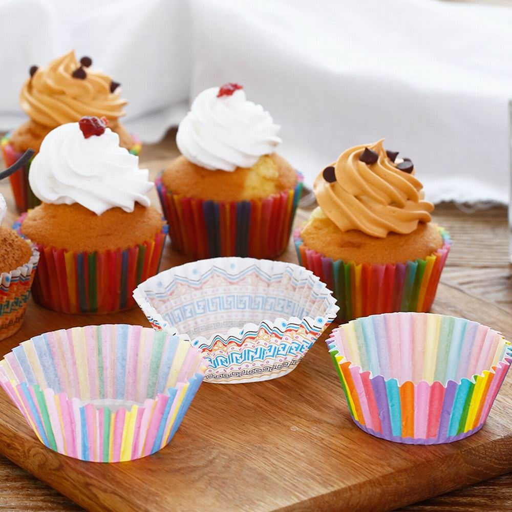 100Pcs Colorful Rainbow Paper Cake Cupcake Liner Baking Muffin Box Cup Case Party Tray Mold Decorating Tools