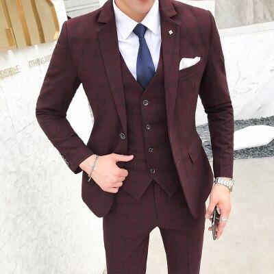 2018 hombres trajes con pantalones 3 unidades traje chaleco naranja gris  Retro de cuadros Slim Fit boda Formal vestido trajes esmoquin plus tamaño  5XL 344ea711cfb