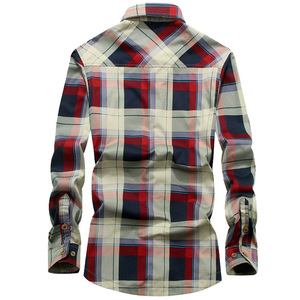 Image 3 - 2020 Winter Plaid Fleece Shirt Men 100% Cotton Liner Casual Long Sleeve Shirts Outerwear Thick Warm Autumn Shirt Chemise Homme
