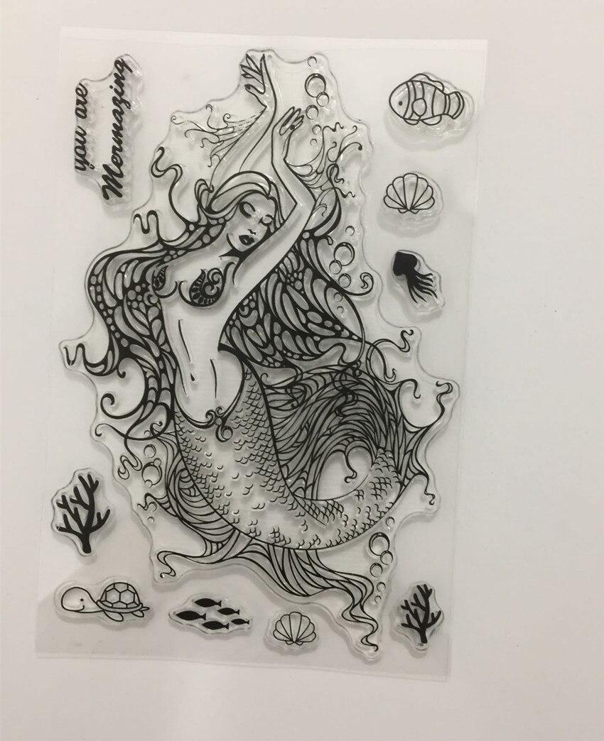 Mermaid Transparent Clear Silicone Stamp/Seal for DIY scrapbooking/photo album Decorative clear stamp sheets w125 wish list transparent clear silicone stamp seal for diy scrapbooking photo album decorative clear stamp sheets