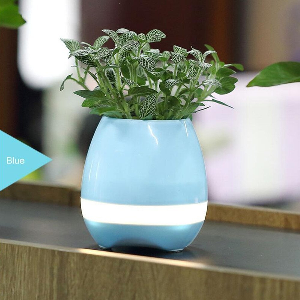 Image 4 - Music Flower Pot Speaker Smart Wireless Finger Bluetooth Switch Office Living Room Decoration Home Speaker Desk Touch Night LED-in Portable Speakers from Consumer Electronics