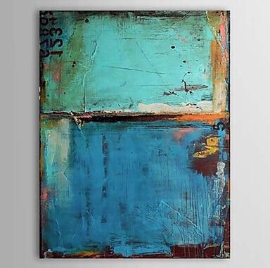 한 유화 빈티지 추상 캔버스 아트 블루 컬러 그림 손으로 그린 캔버스 벽 거실