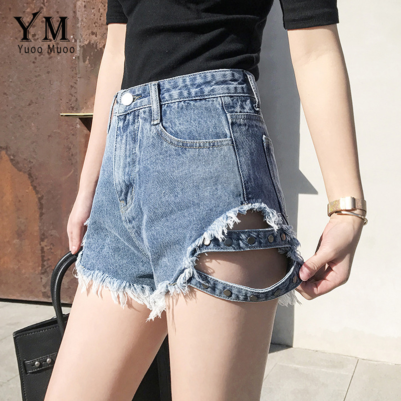Energetic Yuoomuoo 2019 Women Loose Wide Leg Pants Style Summer Denim Short Jeans Rivet Sequined Hole High Waist Zipper Fly Hot Shorts Low Price Bottoms Women's Clothing