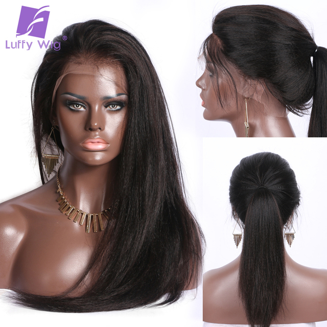 Luffy 13x6 Deep Frontal Yaki Straight Lace Front Human Wigs With Baby Hair Pre Plucked Glueless Wig For Women Brazilian Non Remy