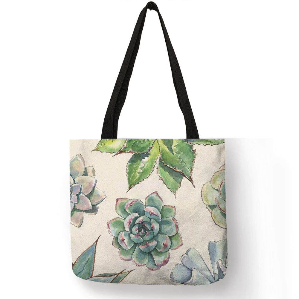 Watercolor Tropical succulent Plants Print Linen Bag Floral Tote Bags For Women Folding Reusable Shopping Bags Traveling BagsWatercolor Tropical succulent Plants Print Linen Bag Floral Tote Bags For Women Folding Reusable Shopping Bags Traveling Bags