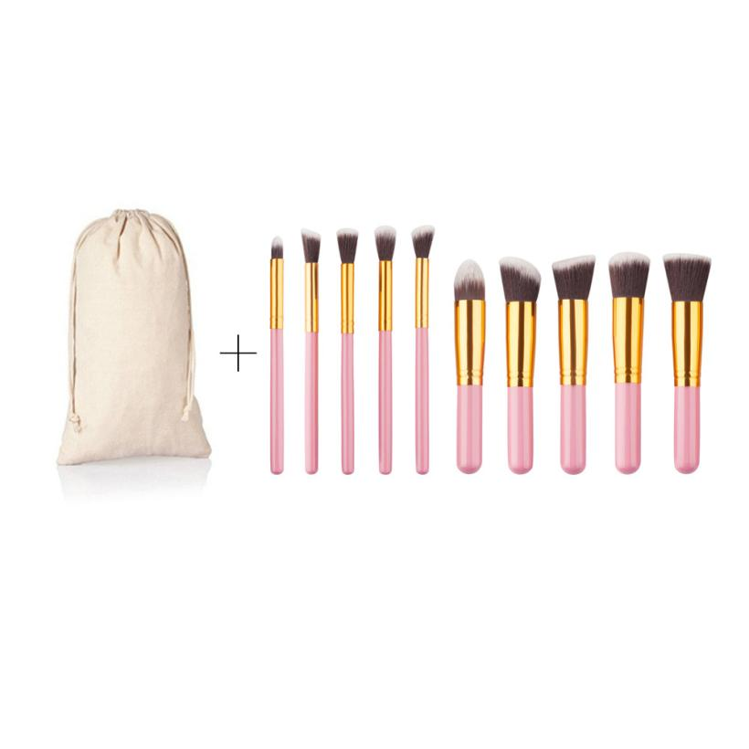 Beauty Girl 2017 Hot Sales  10Pcs Cosmetic  Makeup Brush Professional   Foundation Eyebrow oval Brush Dropshopping delicate cosmetic brush 10pcs