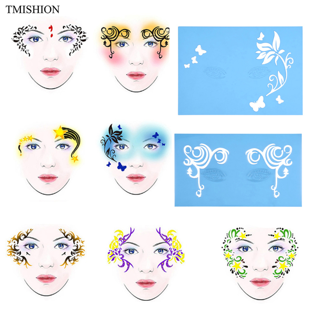 7 styles mix reusable face paint airbrush glitter tattoo stencil