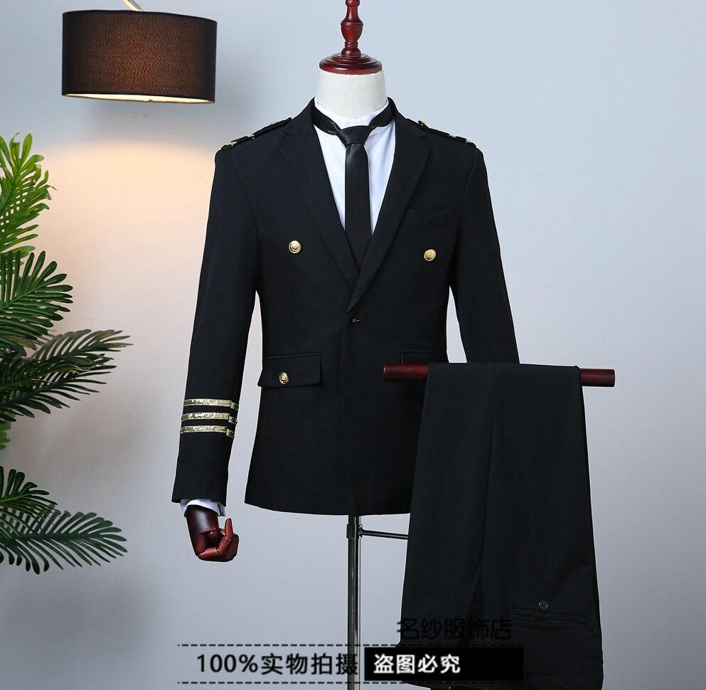 Freeship erkek hava kuvvetleri/kaptan üniforma ceket ve pantolon/sahne performansı/stüdyo uymak/asya boyutu