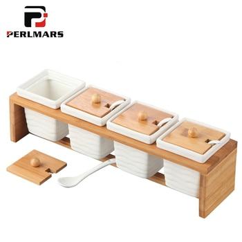 Tanques de cerámica blanca creativos de estilo japonés, accesorios de cocina para el hogar, utensilios de cocina, vajilla, sal, pimentón, frasco blanco, estante de madera
