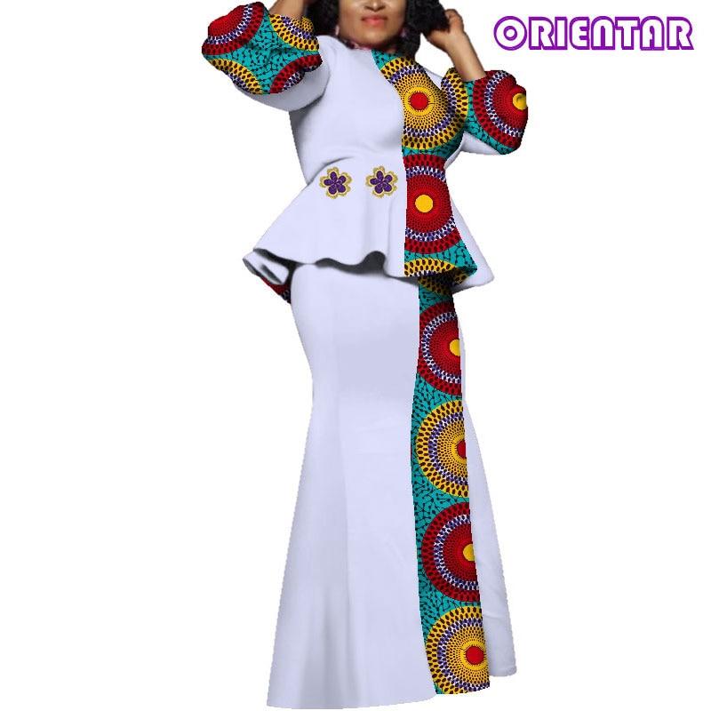 Robe africaine Bazin Riche femmes tenues hauts et jupes africain cire imprimé à manches longues Blouse étage-longueur jupe ensemble WY3817