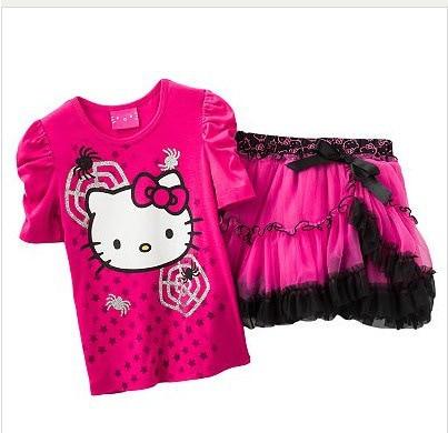 637395c2b 2013 New Children Girls hello kitty Spider Short sleeve T-shirt + skirts  suit top + skirts sets 5set/lot